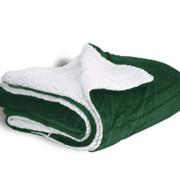 600 sherpa blanket forest green open